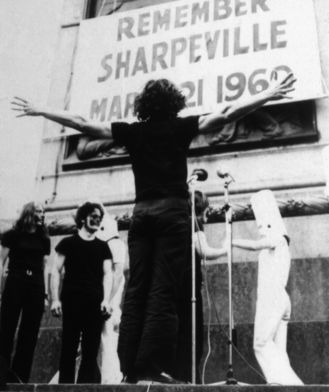 John Gingell, Performance at Trafalgar Square, 1 of 3 Anti-apartheid demonstrations organised with colleagues & students from Howard gardens, 1970
