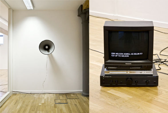 Rebecca Lennon, `Sea sicknes on dry land` (2008), horn Tannoy speaker, CCTV monitor, DVD audio recordings and animated text.
