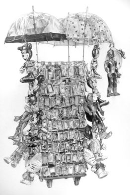<i>Trolley</i> (2013), pencil on paper, 105x80cm