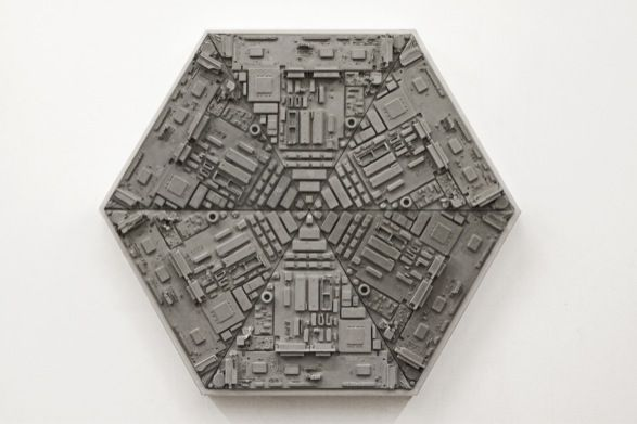 Hexagon (2014) concrete relief cast