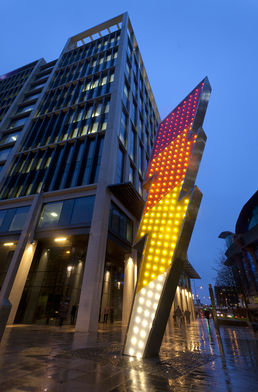 S Mark Gubb: Alight, 2014, Permanent sculptural work in Cardiff city centre (photo credit Jamie Woodley)