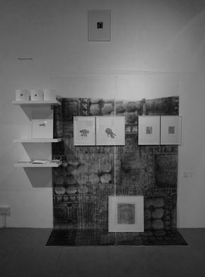 Rhiannon Lowe, City Stories, Mission Gallery, mini installation of my drawings, mixed media 2016/17