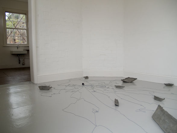 sink, concrete, ballcahin and plug, 2009